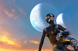 Cyborg Woman - Humanoid looking the sunset