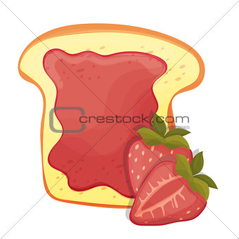 Toasted bread slice of a sandwich red strawberry jam for breakfast