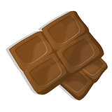 Chocolate pieces, cartoon vector illustration