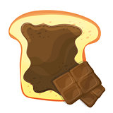 Slice vector of bread or toast with brown sweet chocolate isolated illustration