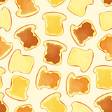 bread slice toast with jam - seamless pattern