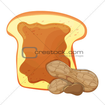 Slice of bread or toast with peanut butter isolated illustration