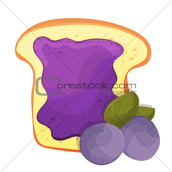 Toasted bread slice of a sandwich blueberry jam for breakfast