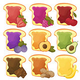 A set of nine sweet sandwiches chocolate, banana, jelly, peanut butter, berries