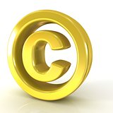 Copyright symbol 3D golden