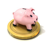 Piggy bank money box standing on gold coin