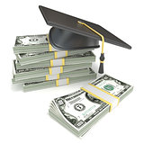Education concept. Graduation cap on stack of dollar bills. 3D