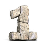 Stone font number 1 ONE 3D