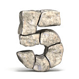 Stone font number 5 FIVE 3D
