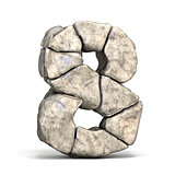 Stone font number 8 EIGHT 3D