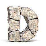 Stone font letter D 3D