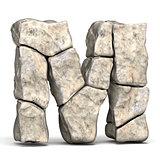 Stone font letter M 3D