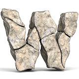 Stone font letter W 3D