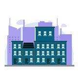 Vector cartoon retro illustration city houses facades landscape.