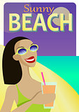 Summer Holiday poster vector design with a beautiful young woman sipping a cocktail on a beach