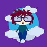 Cute Little Boy In Love With Hearts And Glasses Sitting On a Cloud Vector Card