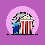 Popcorn, filmstrip and soda with straw. Cinema icon in flat dsign style. Vector illustration