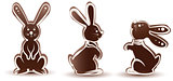 Set sweet chocolate bunny silhouette. Dessert with white icing