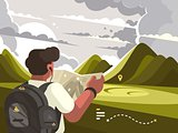 Traveler with map planning route to mountains