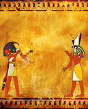 Grunge background with Egyptian gods images Toth and Horus