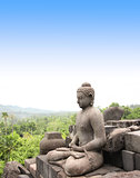 Statue of Buddha, Borobudur Buddhist Temple, Java Island, Indone