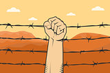 protest sign with hand fist and barbed wire as background and mountain desert