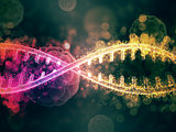 3D medical background with abstract DNA strands and defocussed v