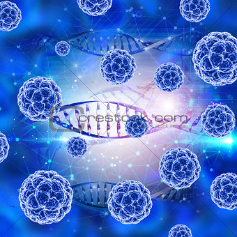 3D medical background with virus cells