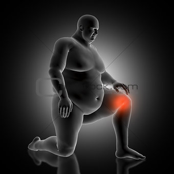 3D medical background with overweight male figure holding his kn