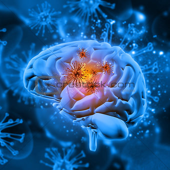 3D medical background with virus cells attacking the brain