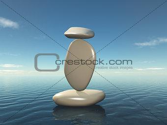 3D balancing zen pebbles