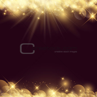Abstract background with stars and bokeh lights