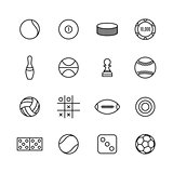 Game and sport icons of thin lines, vector illustration.