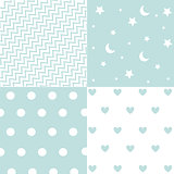 Cute set of Baby Boy seamless patterns with fabric textures