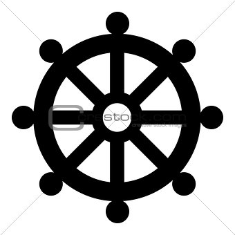 Symbol budhism wheel law religious sign icon black color illustration flat style simple image