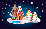 Composition of gingerbread house and fir trees in the night sky and snowfall. Christmas card, vector illustration.