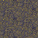 Engraving sketch flower seamless pattern.