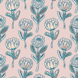 Protea flower seamless vector pattern.