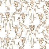 Peacock minimal style seamless vector pattern.