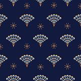 Peacock fan seamless blue vector pattern.