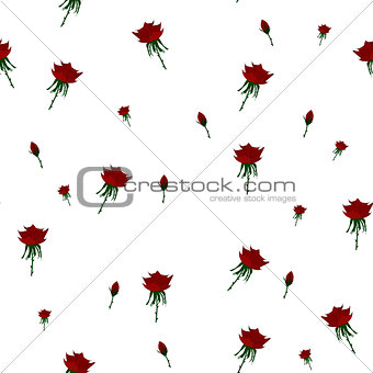Beautiful seamless pattern with red roses on white background.Vector illustration.