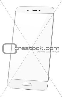 Modern touch screen smartphone isolated on white