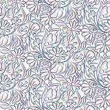 Engraving line sketch style flower seamless pattern.