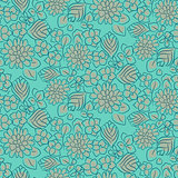 Handdrawn flower dense turquoise line seamless pattern.