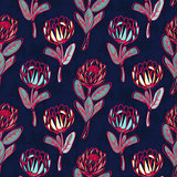 Protea hand drawn seamless vector pattern.