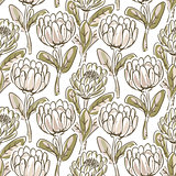 Hand drawn protea flower seamless vector pattern.