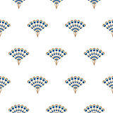 Peacock fan seamless vector pattern.