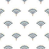Peacock fan seamless vector pattern.