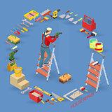 Home repair service. Isometric interior repairs concept.