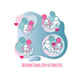 International Day of Families. Set of Family icons. Vector.